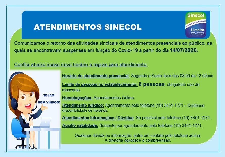 Retorno dos atendimentos Sinecol Limeira 14/07/2020