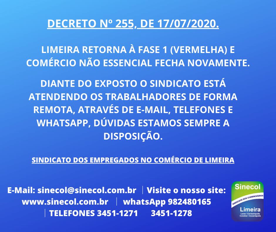 Decreto nº 255, de 17 de Julho de 2020