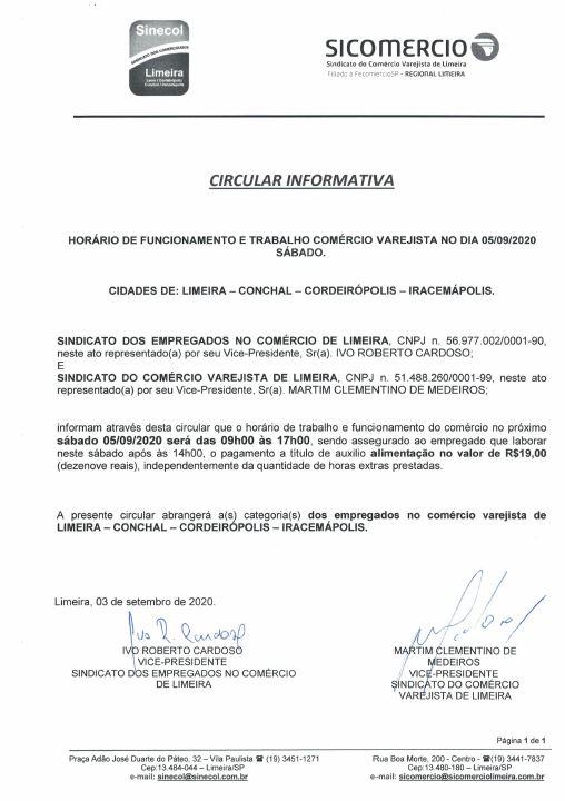 Informativo horário de trabalho e funcionamento do comércio sábado 05/09/2020